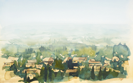 tuscany: watercolor painting showing a landscape in Tuscany at summer time