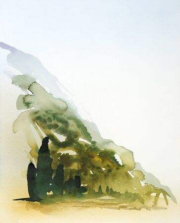 hayfield: watercolor painting showing a landscape in Tuscany at summer time