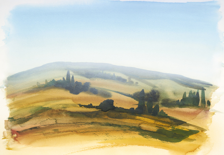 cypress: watercolor painting showing a landscape in Tuscany at summer time