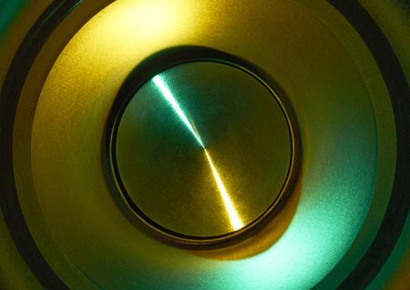 full frame frontal colorful loudspeaker detail Stock Photo