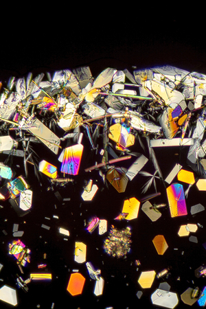 polarised: microscopic shot showing colorful microcrystals in polarised light Stock Photo