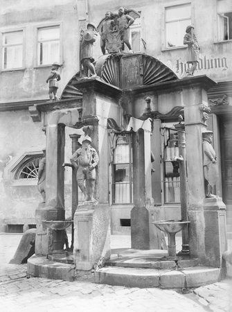 wertheim: historic picture from a glass negative showing a fountain in a  town named Wertheim am Main in Southern Germany