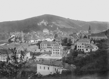 wertheim: historic aerial picture from a glass negative showing a town named Wertheim am Main in Southern Germany