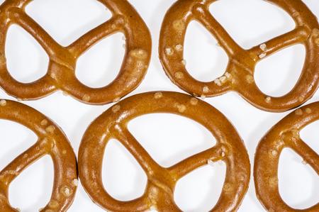 closeup of some lye pretzels in light back