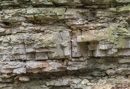 coquina: natural outdoor photography of a brittle layered rock formation