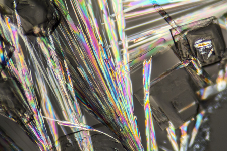 polarised: macro shot of growing microcrystals of soda lye in polarized light