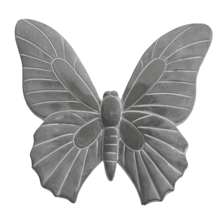 deco butterfly made of stone in white back