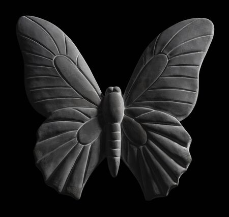 deco butterfly made of stone in black back