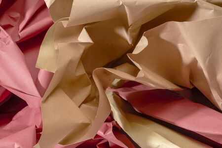 full frame red and brown crumpled paper background Stock Photo