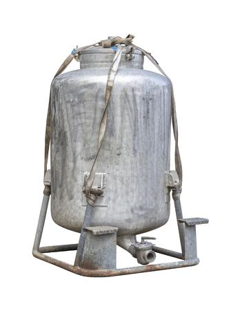 big rundown metallic milk churn in white back Stock Photo