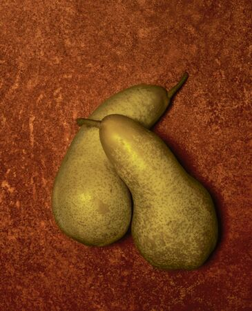 corrosion: two pears cuddling in brown rusty ambiance