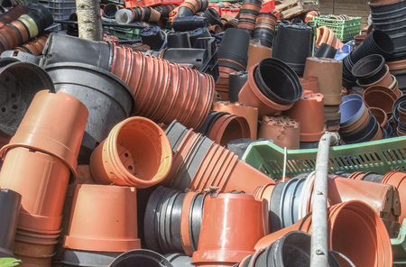 convoluted: lots of plant pots in sunny ambiance Stock Photo