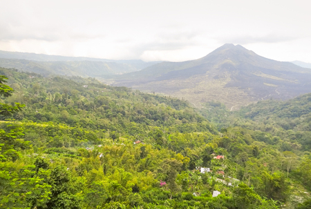 scenery around a volcano named Mount Batur in Bali, Indonesia