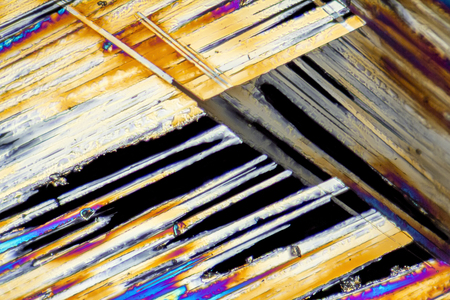 amide: microscopic shot of urea micro crystals in polarized light Stock Photo