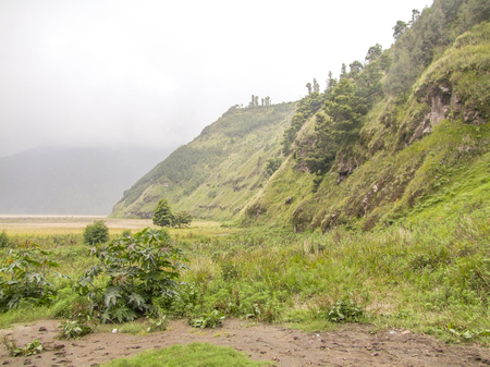 scenery around a volcano named Mount Bromo located in Java, a island of Indonesia Stock Photo