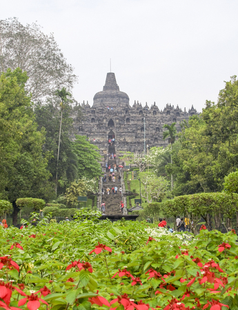 temple named Borobudur located in Java, a island of Indonesia Stock Photo