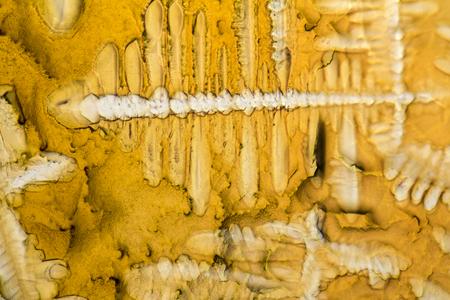 Photo microscopique montrant les cristaux de cristaux d & # 39 ; assaisonnement de soufre Banque d'images - 80053070