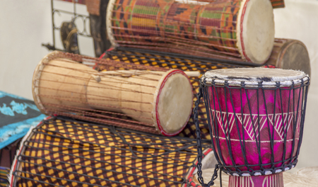various african drums in different sizes