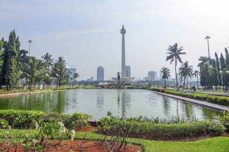 Jakarta, de hoofdstad van Indonesië, gelegen op een eiland genaamd Java Stockfoto