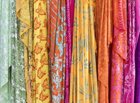 full frame various colorful fabrics background Stock Photo