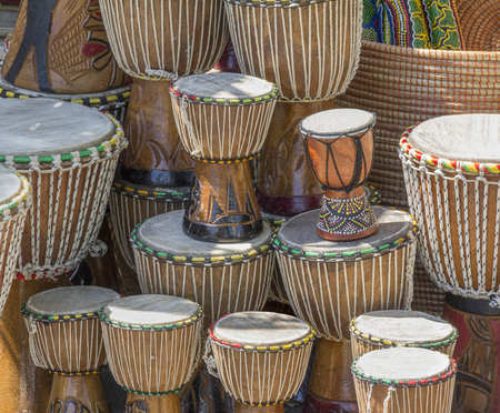 bibelot: lots of african djembe drums in sunny ambiance