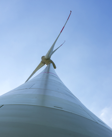 windpower: extreme low angle shot of a wind turbine Stock Photo