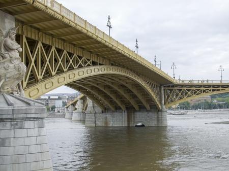 the Margaret Bridge across the river Danube in Budapest, hungary