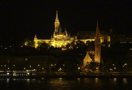 reflectance: night scenery in Budapest, the capital city of Hungary Stock Photo