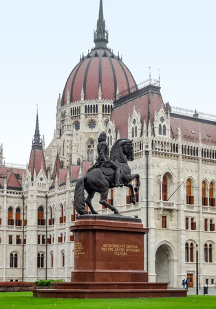 gothic revival: scenery around the Hungarian Parliament Building in Budapest