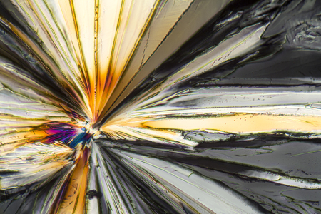 colorful microscopic shot of Sucrose micro crystals in polarized light