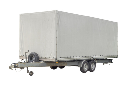 angle shot of a white trailer in white back Imagens
