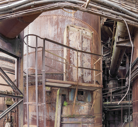 appliance: weathered rusty industrial scenery with old corroded appliances Stock Photo