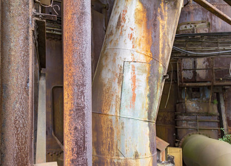 weathered and corroded rundown industrial scenery