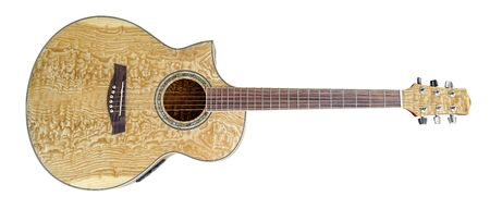 wooden acoustic guitar in white back