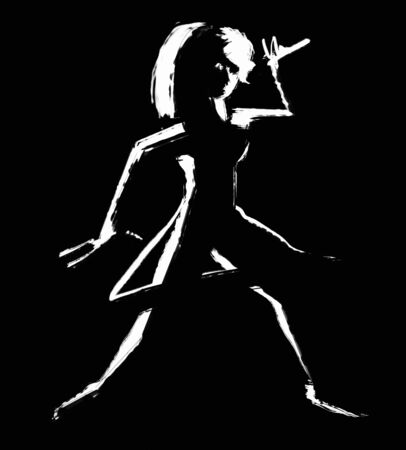 黒バックで歌う若い女性の黒と白のイラスト 写真素材