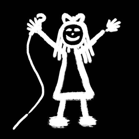 黒バックで歌う少女の黒と白のイラスト 写真素材