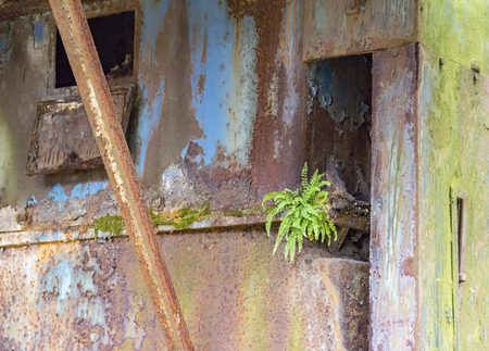 full frame weathered colorful rusty industrial detail Standard-Bild