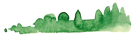 abstract green watercolor painting showing a landscape with bushes and trees