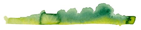 abstract green watercolor painting showing a landscape with bushes and trees Stock fotó - 92397289