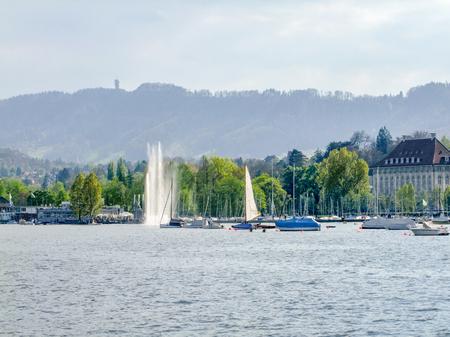 riparian scenery around Lake Zurich in Switzerland Stock Photo
