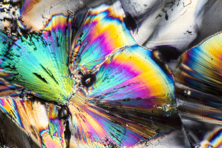 microscopic shot  showing micro crystals  of a zinc preparation illuminated with polarized light