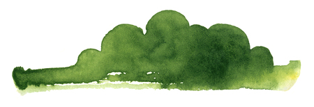 abstract green watercolor painting showing a landscape with bushes and trees Stock fotó - 88569867