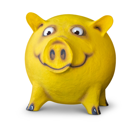 figure of a funny yellow pig done by me in white back with shadow