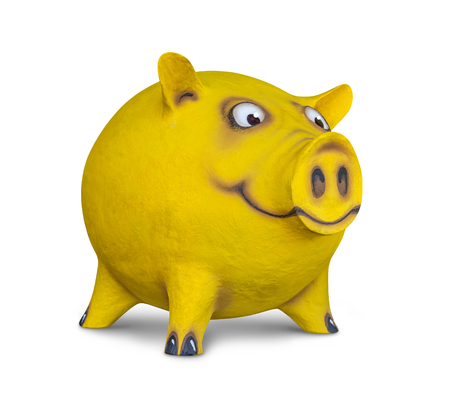 likeable: figure of a funny yellow pig done by me in white back with shadow