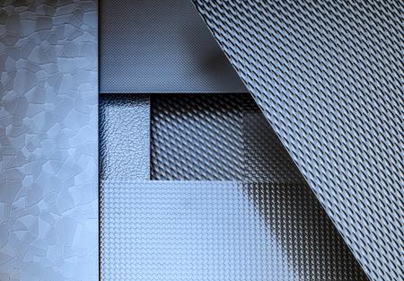 variatie van sommige blauw verlichte fijn gestructureerde metalen oppervlakken Stockfoto