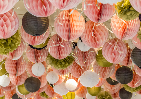 low angle shot of a ceiling with paper ball decoration Stock Photo