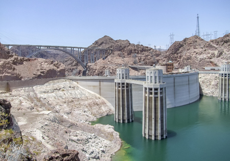 scenery around Hoover Dam in the Black Canyon at the Colorado River in USA