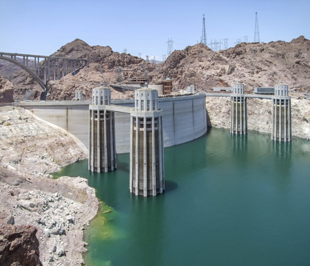 building regulations: scenery around Hoover Dam in the Black Canyon at the Colorado River in USA