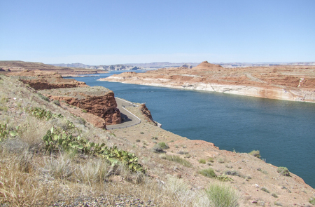 hoover dam: scenery around Hoover Dam in the Black Canyon at the Colorado River in USA