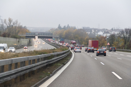 dusky road scenery on a highway in Germany at autumn time